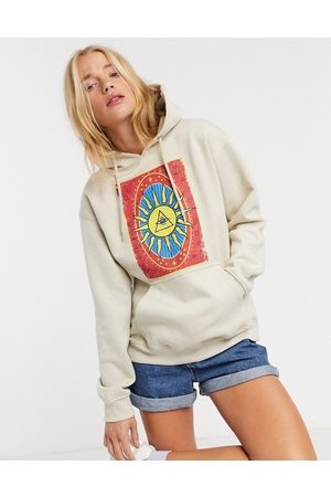 daisy street Relaxed hoodie with tarot print in -Neutral