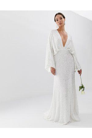 ASOS Ciara sequin kimono sleeve wedding dress