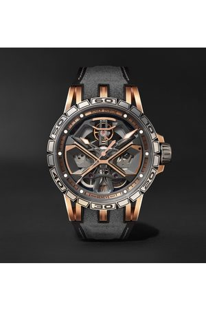 ROGER DUBUIS Men Watches - Excalibur Huracán Automatic Skeleton 45mm 18-Karat Pink Gold, Titanium and Rubber Watch, Ref. No. RDDBEX0750
