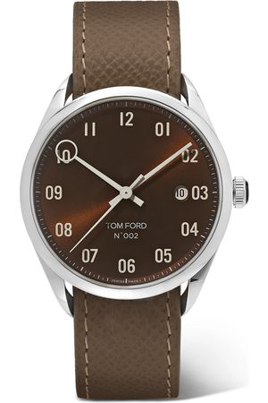 Tom Ford 002 40mm Stainless Steel and Pebble-Grain Leather Watch