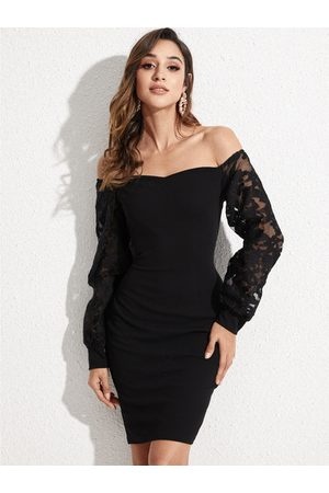 YOINS Black Lace Mesh Off-the-Shoulder Lantern Sleeves Dress