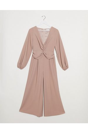 ASOS Twist front wide leg jumpsuit in blush