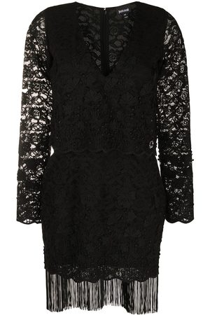 Roberto Cavalli Women Party Dresses - Lace pattern fringed dress