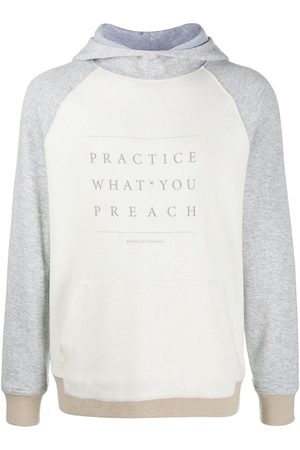 Brunello Cucinelli Slogan print colour block hoodie