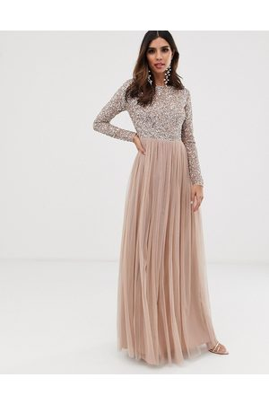 Maya Women Party Dresses - Bridesmaid long sleeve maxi tulle dress with tonal delicate sequins in taupe blush