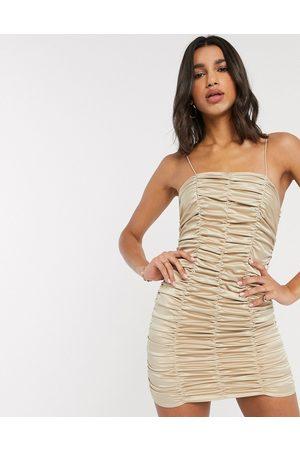 ASOS Women Evening Dresses - Ruched satin mini dress-Neutral
