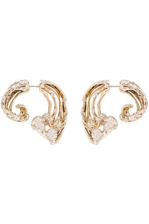 Bibi van der Velden Women Earrings - 18kt yellow wave diamond earrings