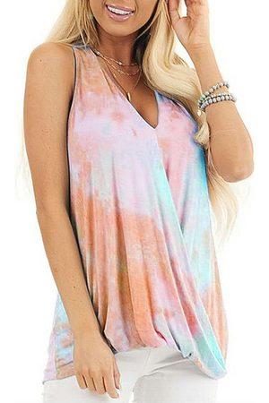 YOINS Tie-dye Print Wrap Design Sleeveless Tank Top