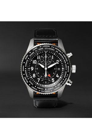 IWC SCHAFFHAUSEN Pilot's Timezoner Automatic Chronograph 45mm Stainless Steel and Leather Watch, Ref. No. IW395001