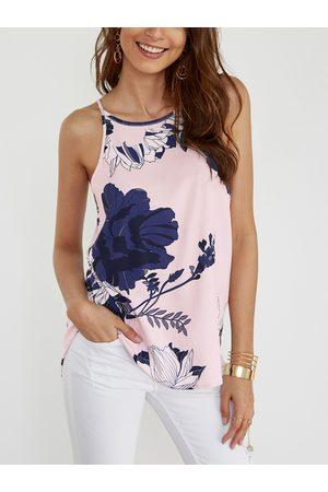 YOINS Light Pink Random Floral Print Halter Design Cami Top