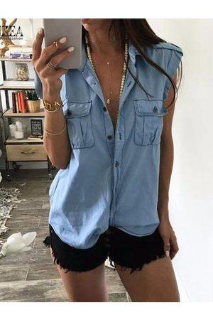 YOINS Blue Denim Classic Collar Sleeveless Blouse
