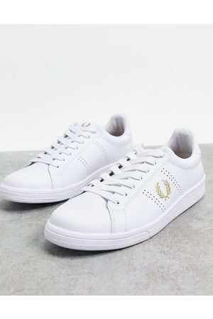 Fred Perry B721 gold detail leather trainers in