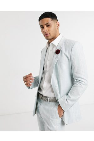 ASOS Wedding skinny suit jacket in stretch cotton linen in and white stripe