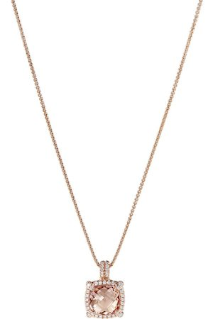 David Yurman 18kt rose gold Châtelaine diamond and morganite pendant necklace