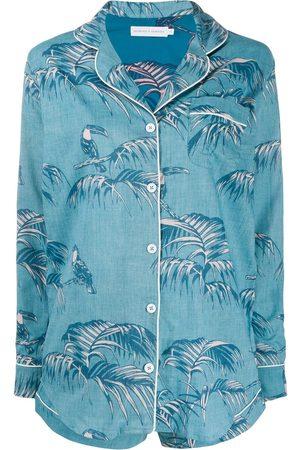 Desmond & Dempsey Leaf print short pyjama set