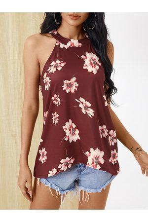 YOINS Halter Random Floral Print Button Design Cut Out Sleeveless Cami