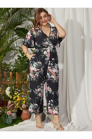 YOINS Plus Size Random Floral Print Wrap Design Side Pockets Jumpsuit