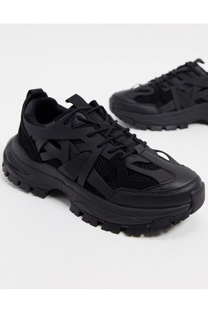 ASOS Trainers with multi rubber pannels and chunky sole in black