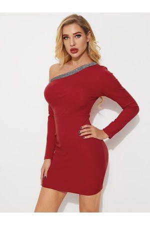 YOINS Burgundy Sequins Embellished One Shoulder Long Sleeves Dress