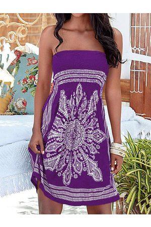 YOINS Purple Tribal Print Strapless Midi Dress