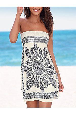 YOINS White Tribal Print Strapless Sexy Midi Dress