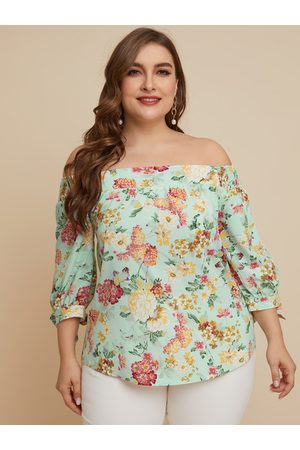 YOINS Plus Size Off The Shoulder Floral Print Half Sleeves Blouse