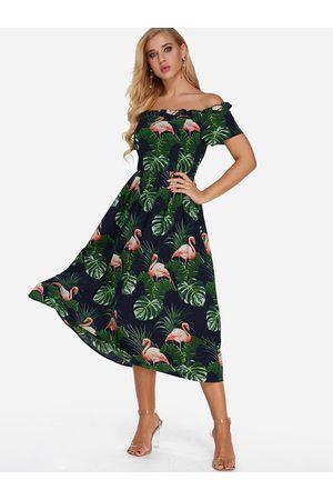 YOINS Off The Shoulder Print Zip Design Short Sleeves Dress