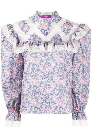 Serafini Ruffled floral-print blouse