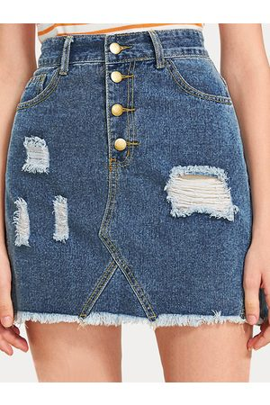 YOINS Button Front Ripped Middle-Waisted Denim Skirt