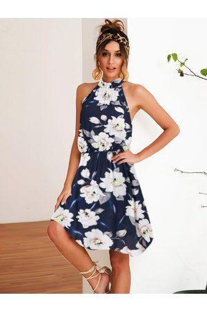 YOINS Random Floral print Knotted Sleeveless Dress