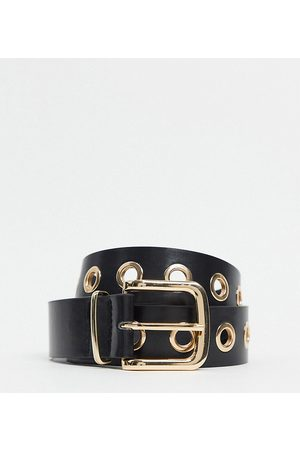 My Accessories London Exclusive gold eyelet waist and hip jeans belt in