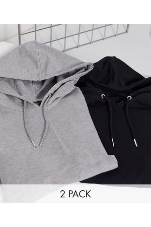 ASOS Organic muscle hoodie 2 pack black/grey marl