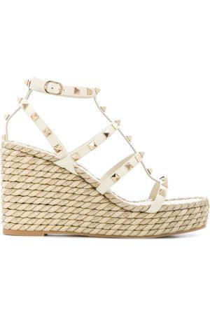 VALENTINO GARAVANI Rockstud rope wedge sandals
