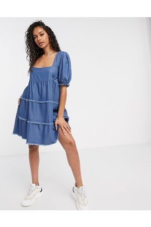 Missguided Denim smock dress with square neck