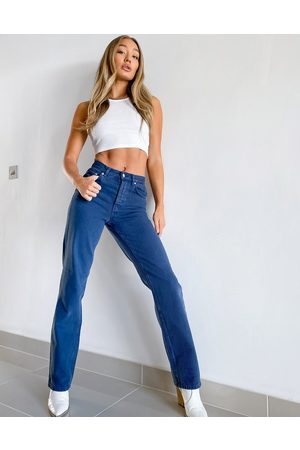 ASOS High rise '90's' straight leg jeans in washed navy