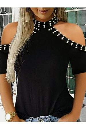 YOINS Women T-shirts - Black Handmade Beaded Details Cold Shoulder Tee