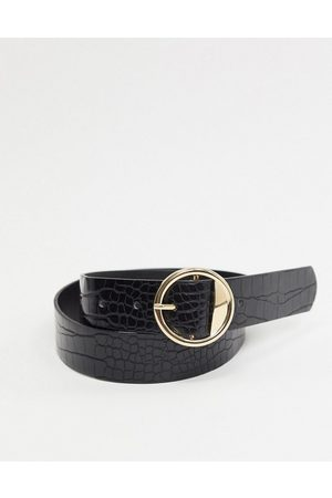 Pieces Round buckle belt in faux croc