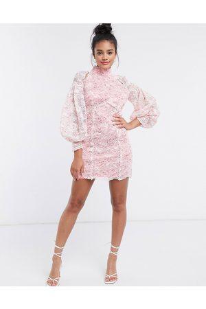 River Island Lace volume sleeve mini dress in pink