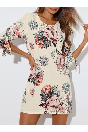 YOINS Beige Random Floral Print Self-tie Round neck Half Sleeves Mini Dress