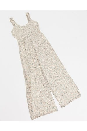 Vila Jumpsuit with gathered straps in cream floral-Multi