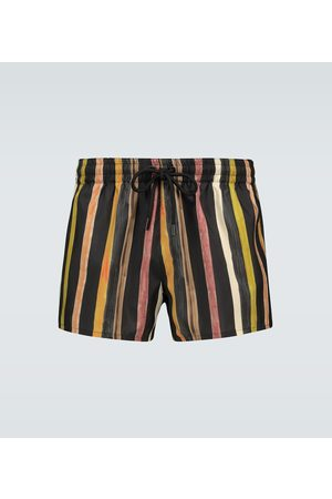 Commas Men Swim Shorts - Latte striped linen shorts
