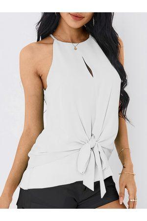 YOINS Crew Neck Button Design Self-tie Design Sleeveless Cami