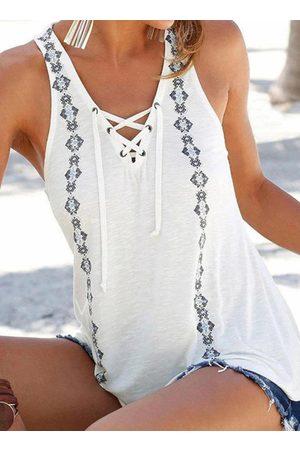 YOINS Tribal Criss-cross Tie-up Design V-neck Sleeveless Tank Top