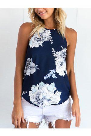YOINS Random Floral Print Cami Top in Blue