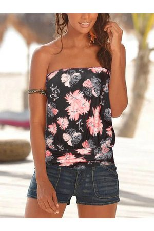 YOINS Random Floral Print Backless Design Tube Top Bodysuit