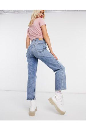 Monki Zami super high waist straight leg cropped jeans in vintage