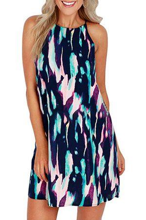 YOINS Casual Random Floral Print Round neck Spaghetti Strap Sleeveless Dress