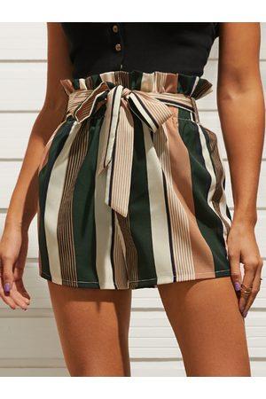 YOINS Women Belts - Striped Belt Self-tie Design High-waisted Shorts