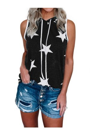 YOINS Star Print Hooded Design Sleeveless Tank Top