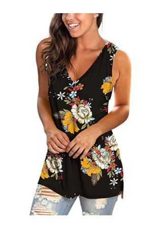 YOINS Random Floral Print V-neck Sleeveless Tank Top